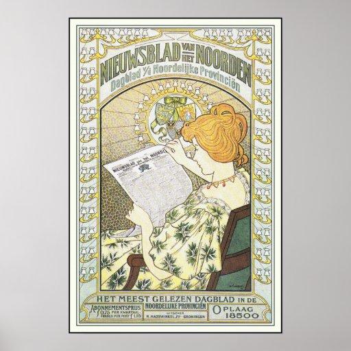 Poster de la publicidad del vintage: Periódico hol