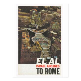 Poster de la publicidad, El Al a Roma Postal
