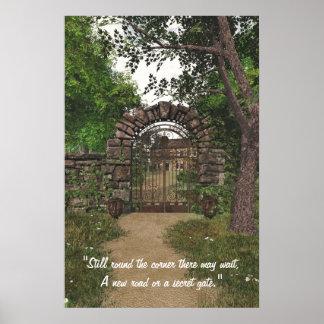 Poster de la puerta de jardín con la cita
