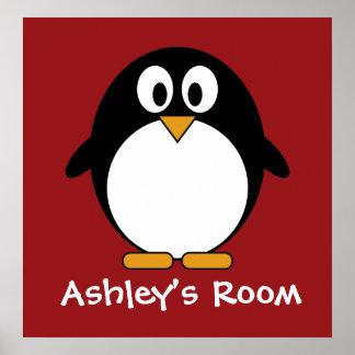 poster de la puerta del niño lindo del pingüino