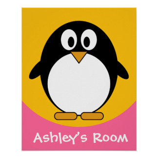 poster de la puerta del niño lindo del pingüino póster