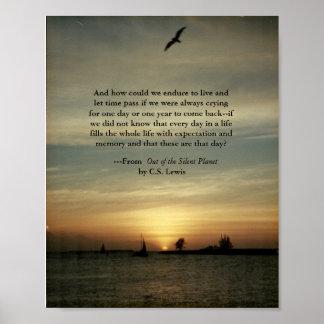 Poster de la puesta del sol con cita de C.S.Lewis