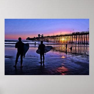 Poster de la puesta del sol de California meridion