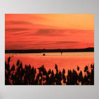 Poster de la puesta del sol de la bahía roja