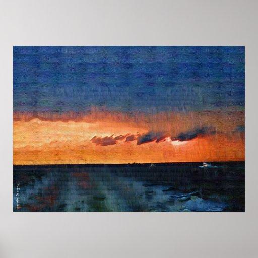 Poster de la puesta del sol de la isla del fuego
