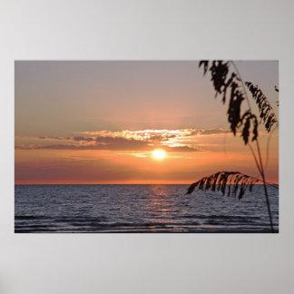 Poster de la puesta del sol de la isla del tesoro,
