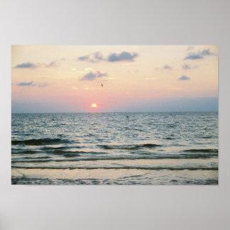 Poster de la puesta del sol de la playa de Clearwa