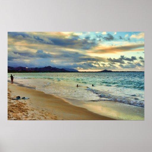 Poster de la puesta del sol de la playa de la isla