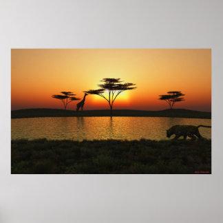 Poster de la puesta del sol de la sabana póster