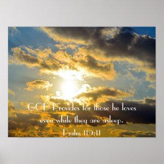 poster de la puesta del sol del 119:11 del salmo d