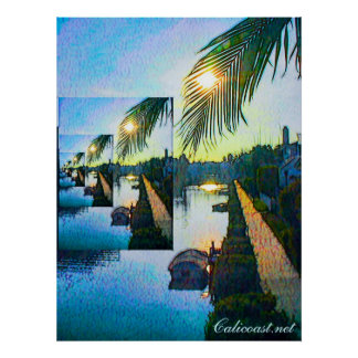 Poster de la puesta del sol del canal de Venecia