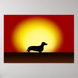 """""""Poster de la puesta del sol del Dachshund"""""""
