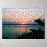 Poster de la puesta del sol del mosaico