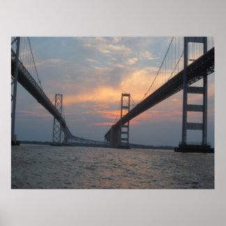 Poster de la puesta del sol del puente de la bahía