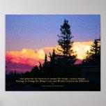 Poster de la puesta del sol del rezo de la serenid