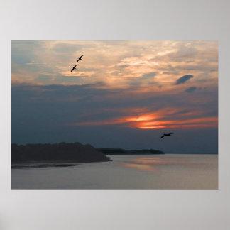 Poster de la puesta del sol del río Amazonas