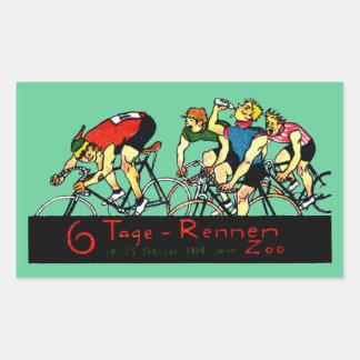 Poster de la raza de bicicleta 1914 pegatina rectangular