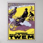 Poster de la raza de la moto y de bicicleta