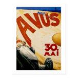 Poster de la raza del vintage AVUS Tarjeta Postal
