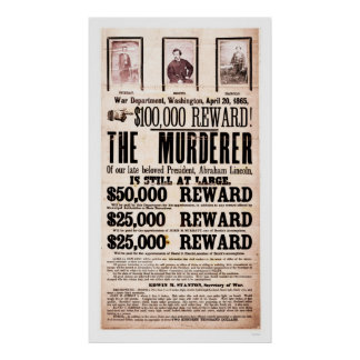 Poster de la recompensa para el asesinato 1865 de