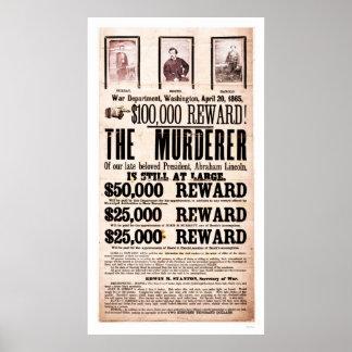 Poster de la recompensa para el asesinato 1865 de  póster