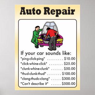 Poster de la reparación auto póster