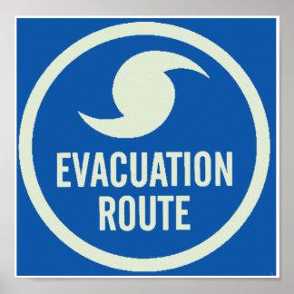 Poster de la ruta de la evacuación del huracán póster