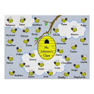 Poster de la sala de clase - abejas y colmena de l