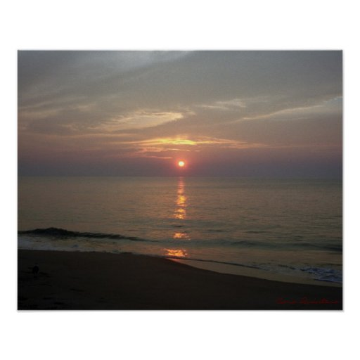 Poster de la salida del sol de Océano Atlántico Póster