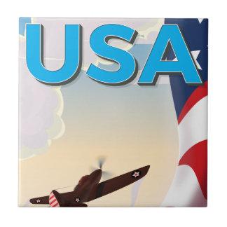 Poster de la Segunda Guerra Mundial del vintage de Azulejo Cuadrado Pequeño