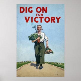 Poster de la Segunda Guerra Mundial - empuje para