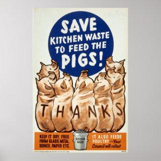 Poster de la Segunda Guerra Mundial - salvamento -