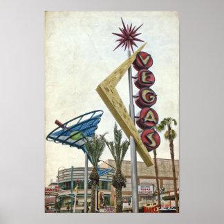Poster de la señal de neón de Vegas del vintage
