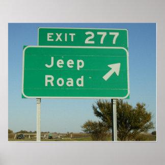 Poster de la señal de tráfico del jeep