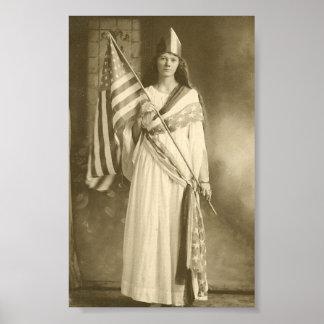 poster de la señora del liberity del sufragio