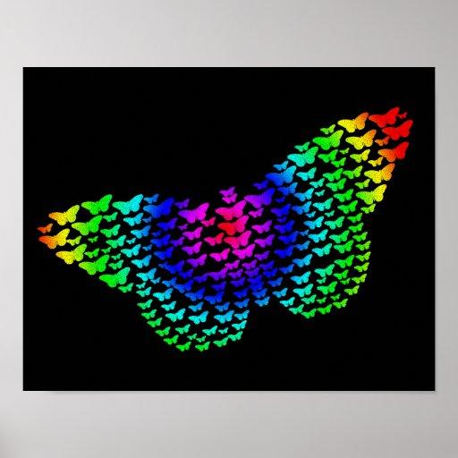 Poster de la silueta de la mariposa del arco iris