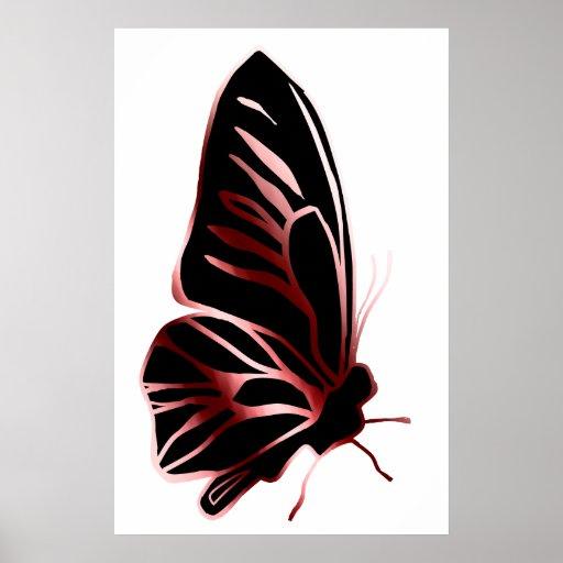 Poster de la silueta de la mariposa del efecto del