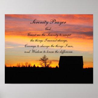 Poster de la silueta de la puesta del sol del rezo