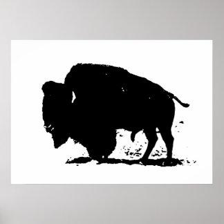 Poster de la silueta del bisonte del búfalo del