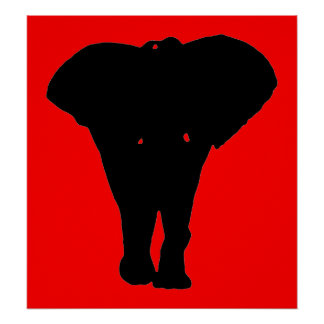 Poster de la silueta del elefante del arte pop