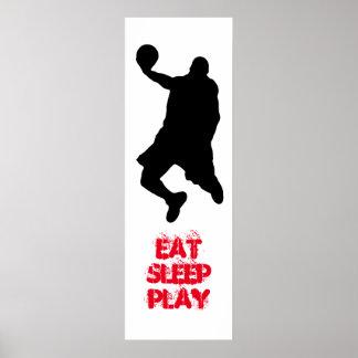 Poster de la silueta del jugador de básquet de Eat
