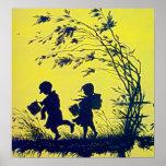 Poster de la silueta del niño del vintage