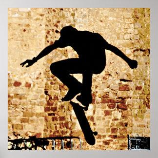 Poster de la silueta del skater póster