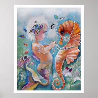 Poster de la sirena del bebé y del caballo de mar