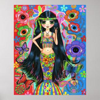 Poster de la sirena del chica del Hippie Póster