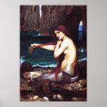 Poster de la sirena del vintage de John William Wa
