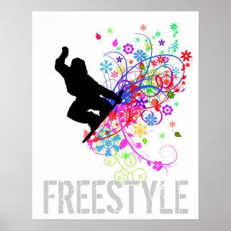 Poster de la snowboard del estilo libre