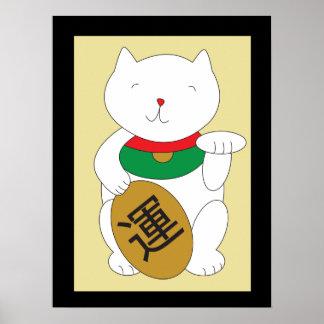 Poster de la suerte de Maneki Neko y de la buena f