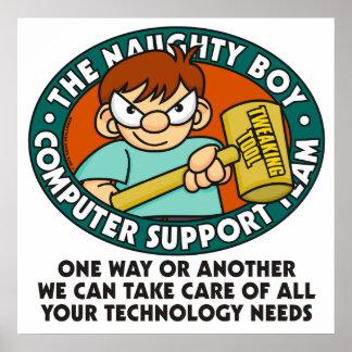 Poster de la tecnología del ordenador del muchacho