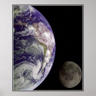 Poster de la tierra y de la luna